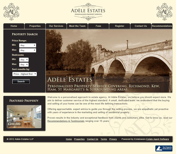 Adele Estates Website Screenshot