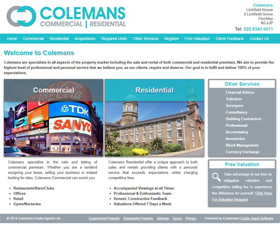 Colemans Website Screenshot
