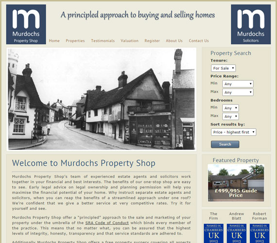 Murdochs Property Shop Website Screenshot