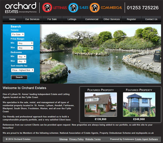 Orchard Estates Website Screenshot