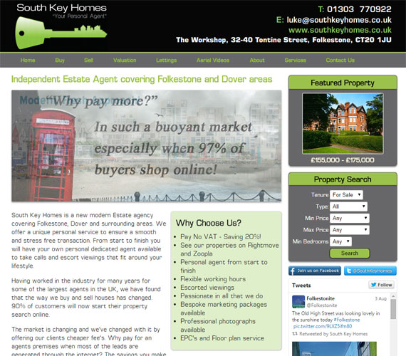 South Key Homes Website Screenshot