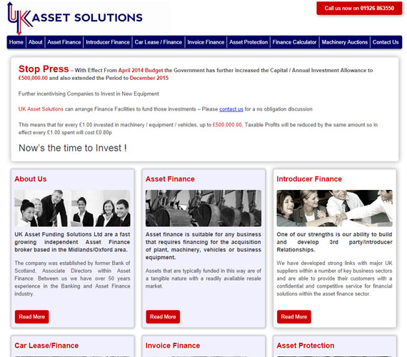 UK Asset Solutions Website Screenshot