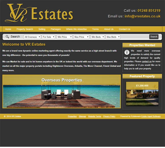 VR Estates Website Screenshot
