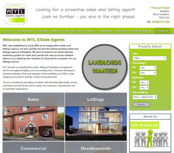WYL Estate Agents Website Screenshot